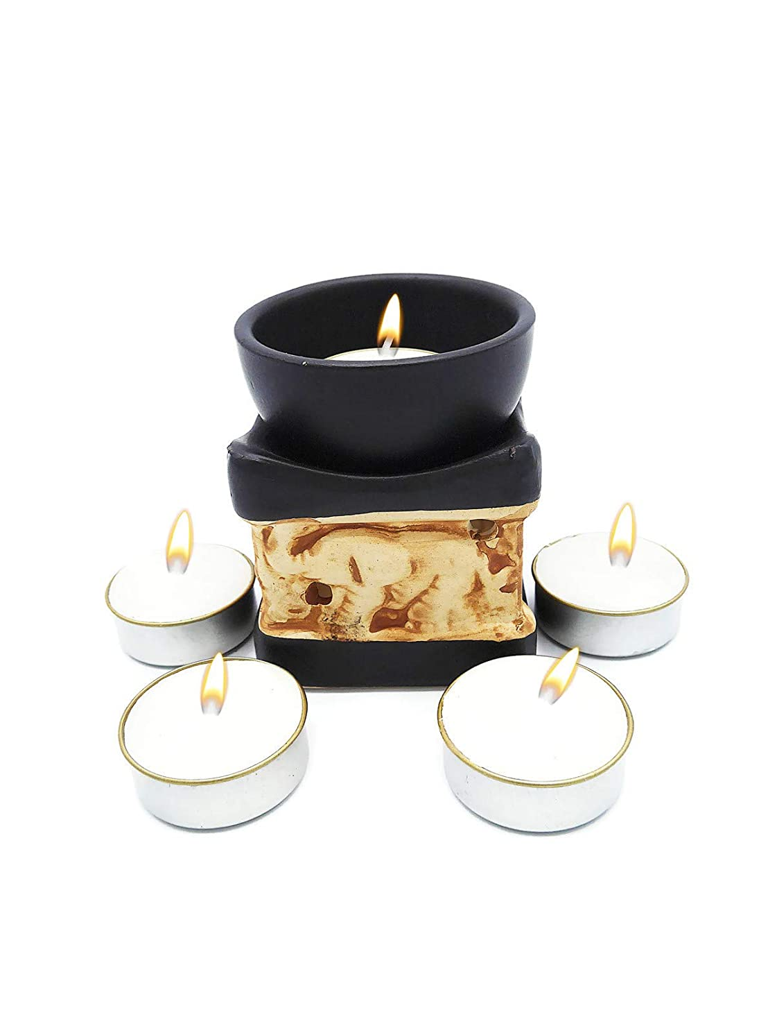 Elephant Essential Oil Burner Tea Light Candle Holder for Home Decoration & Aromatherapy *FREE Scented Tea Light Candle