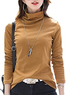 Generic Womens Long Sleeve Slim Turtleneck Basic Solid T-shirts Tee Tops