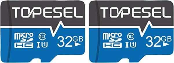TOPESEL 32GB Micro SD Card 2 Pack Memory Cards Micro SDHC UHS-I TF Card Class 10 for Cemera/Drone/Dash Cam(2 Pack U1 32GB)