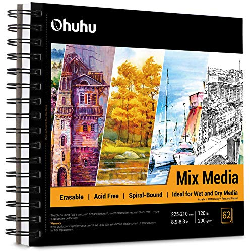 Mix Media Pad, Ohuhu 8.9'×8.3' Mixed Media Art Sketchbook, 120 LB/200 GSM Heavyweight Papers 62 Sheets/124 Pages, Spiral Bound Mixed Media Paper Pad for Acrylic, Watercolor, Painting