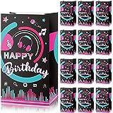 24 Piezas Bolsas de Papel de Fiestas Musicales, Bolsa de Regalo de Fiesta de Happy Birthday Bolsas de Golosinas de Caramelo para Favores de Fiesta de Cumpleaños, 8,3 x 4,7 x 3,1 Pulgadas