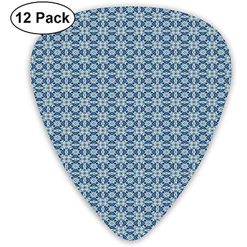 Gitarren-Plektren 12er-Pack, portugiesisch Azulejo Tile Inspired Pattern mit Ornamental Foliage Pattern
