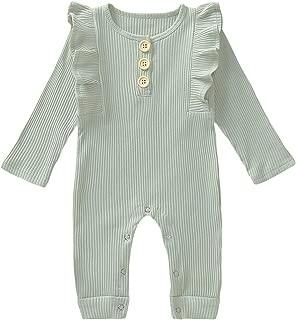 HAPPYMA Newborn Toddler Baby Girls Autumn Outfits Ruffle Long Sleeve Solid Bodysuit Cotton Button Jumpsuit + Headband 2Pcs