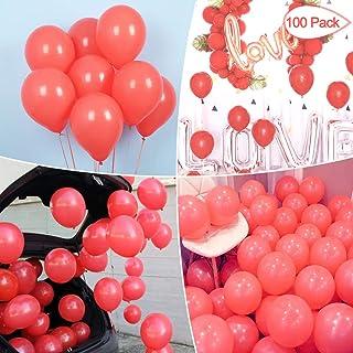 Sunshine smile Pastel Globos,Macaron Latex Balloon,Globos de Cumpleaños,Globos de Helio,Globos Boda,para Cumpleaños Decoración Fiesta Aniversario Baby Shower Comunión (Rojo 100 Piezas)