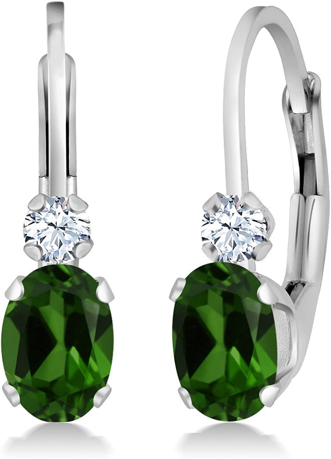 0.98 Ct Green Chrome Diopside White Created Sapphire 14K White gold Earrings