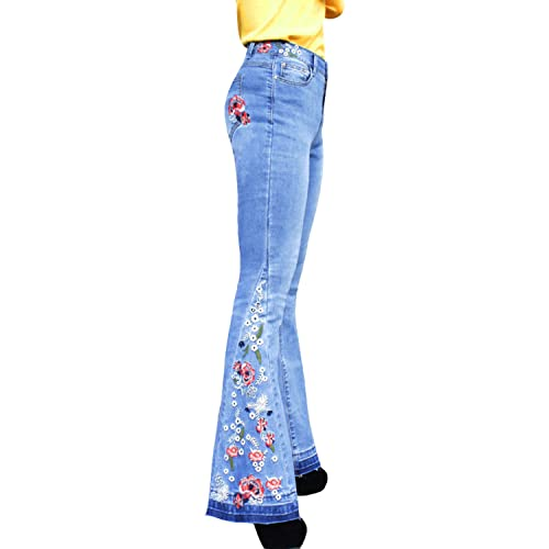 Womens Ladies Tie Dye Flared High Waisted Skinny Kick Flared Trousers Pants UK