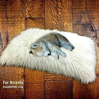 DogNappers Brand - Plush Faux Fur Dog Bed - Cat Mat - Soft Padded Shaggy Pet Bed - Long Hair Mongolian Fur - Llama - 4 Colors  30  x36   White