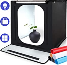 Photo Light Box, SAMTIAN Portable 16x16x16 Inches Photography Studio Light Box Shooting Tent TableTopPhotographyLighting Kit with 6 Background Papers and Brightness Dimmer for Photography