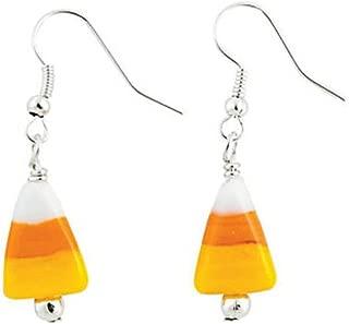 Candy Corn Glass Lampwork Dangle Earrings 1.75
