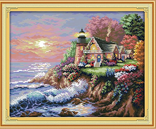 eGoodn Stamped Cross Stitch Kit Accurate Pre-Printed Pattern Scenery- Seaside Lighthouse 11ct Fabric 22 inches by 17.7 inches, Cross-Stitching Needlework DIY Embroidery No Frame