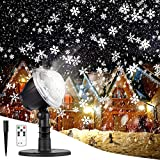 Christmas Projector Lights Outdoor LED Snowflake Christmas Lights with Remote Control, Outdoor Landscape Patio Garden Decorative...