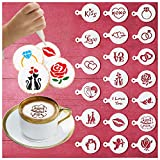 Cookie Stencils for Wedding Valentines Day Decorations, 20pcs Coffee Stencils Stencil Cake Decorating Cookie Baking Tools, Reusable Drawing Painting Templates Molds Stencils for Crafts