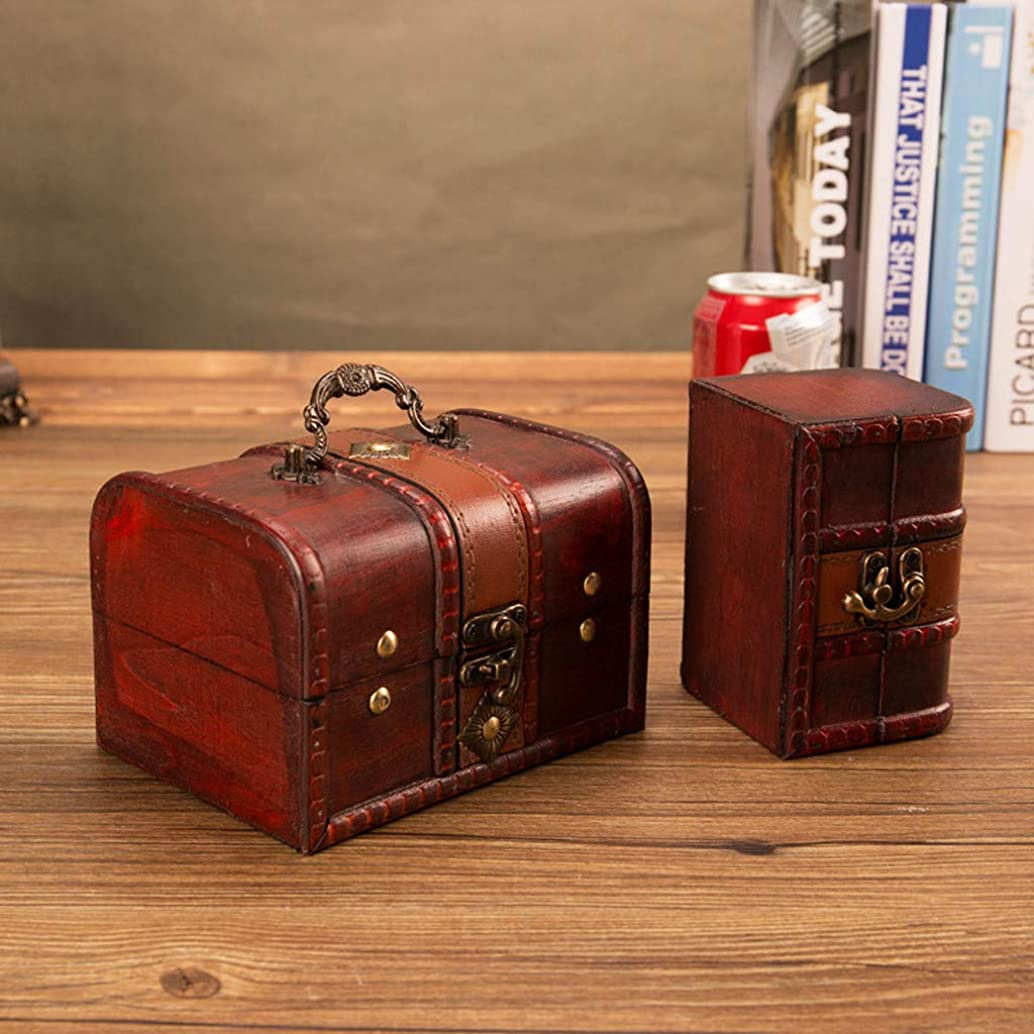 Quaanti 2Pcs Jewelry Box Little Treasure Chest Vintage Handmade Box Wooden Rings Case Box with Mini Metal Lock for Storing Jewelry Treasure Pearl (Brown)