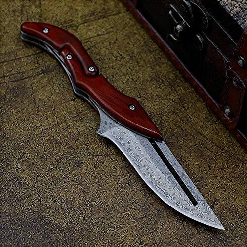 Damaskus Klappmesser D2 Stahl Klappmesser Outdoor Pocket Messer Dschungel Jagdmesser Feste Blade Messer (Color : H zdd1 A)