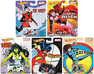 2017 Hot Wheels Pop Culture Marvel Series Set of 5 Premium Adult Collectible Diecast Cars Scarlet Witch, Black Widow, The Wasp, She Hulk, Spider Woman