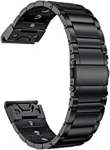 LDFAS Fenix 6X Pro/5X Band, Magnetic Therapy Quick Release Easy Fit 26mm Stainless Steel Metal Bands Compatible for Garmin Fenix 6X/6X Pro/5X/5X Plus/3/3HR/Descent Mk1 Smartwatch, Black