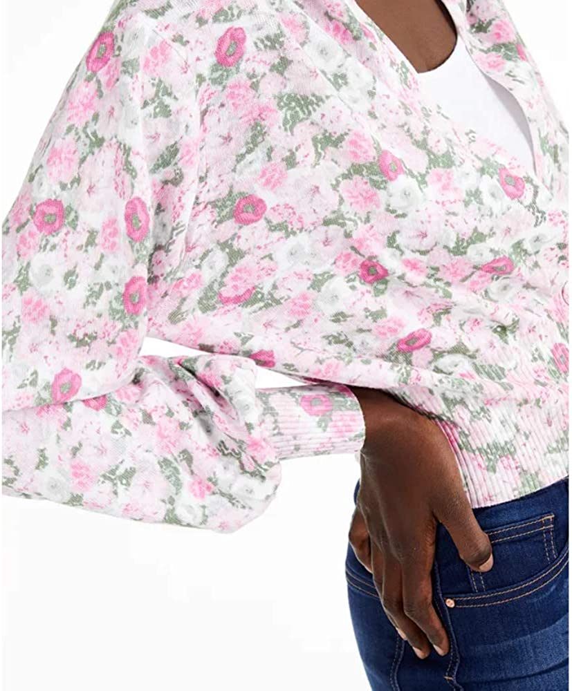 INC Womens Floral Print Ribbed Knit Cardigan Sweater Pink M