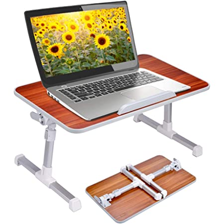Breakfast Serving Bed Tray Notebook Computer Stand Reading Holder for Couch Floor Upgraded Foldable Laptop Table Black Portable Standing Bed Desk