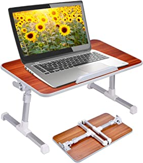 Neetto Adjustable Bed Table, Portable Laptop Standing Desk, Foldable Sofa Breakfast Tray, Notebook Stand Reading Holder for Couch Floor - American cherry
