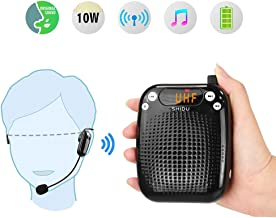 Portable Voice Amplifier Wireless 10W,SHIDU Personal Voice Amplifier Rechargeable PA Speaker with UHF Wireless Microphone Headset for Teachers,Singing,Tour Guides,Classroom,Outdoors,Coaches,Elderly