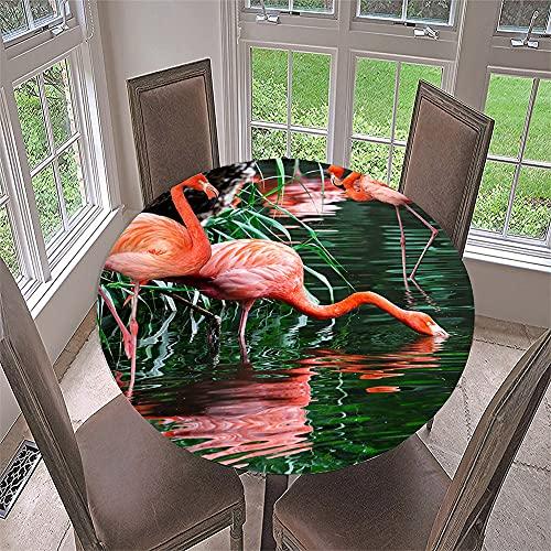 Morbuy Mantel Elastico Ajustable Redondo, 3D Flamenco Imprimir Manteles Impermeables Antimanchas Mantel para Decoración Cocina Comedor Fiesta Cumpleaños Jardín (Patrón de Flamenco,Diametro 150cm)
