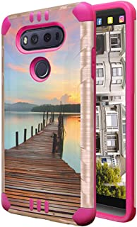 Izumi Case Compatible with LG V20 [Hybrid Dual Layer Supports Qi Wireless Charging Slim Defender Armor Combat Case Pink Rose Gold] for LG V20 - (Walking Path)