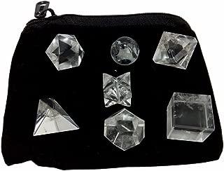 Clear Crystal Quartz Geometric Shape Set with Bag
