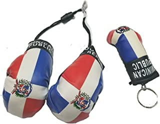 BUNFIREs 2pcs Dominican Republic Boxing Glove Keychain Flag w/Mirror Boxing Glove Banner