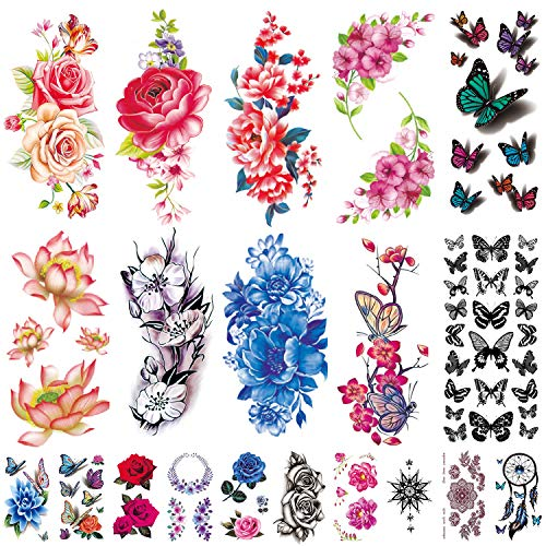 Flowers Temporary Tattoos Stickers, Roses, Butterflies and Multi-Colored Mixed Style Body Art Temporary Tattoos for Women, Girls or Kids