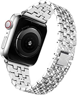 Bling Bands Compatible for Apple Watch Band 38mm 40mm 42mm 44mm Replacement Metal Wristband with Diamond Rhinestone Stainless Steel Bracelet for iWatch Series 4/3/2/1 (Silver, 38 mm)
