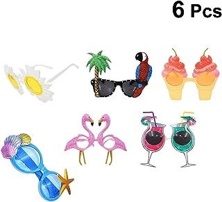 e87c97d8fd Amosfun Gafas de Sol de Flamenco Gafas de Verano Decoración de la Fiesta  Tropical Fiesta Hawaiana