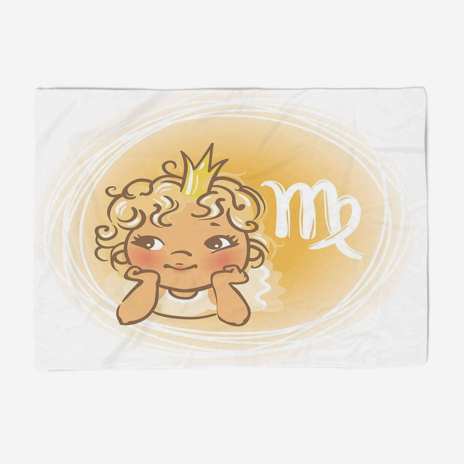 YOLIYANA Microfiber Throw Blanket Set Perfect for Couch Sofa or Bed 49x39 inches Virgo,Baby Zodiac Representation Cute Little Girl with A Crown Angel Cartoon Decorative,Pale orange Yellow White