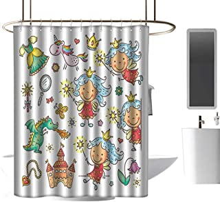 coolteey Shower Curtains Gray and Black Fairy,Cartoon Princess Pattern with Magic Wand Dragon Dress Unicorn and Crown Little Child,Multicolor,W72 x L72,Shower Curtain for clawfoot tub