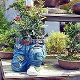 Gartendeko Blumentöpfe,Topf für Blumen und Pflanzen,Jeans Blume Harz Pflanzkübel dekorativer Topf für Pflanzen,Gartenstatuen Ornamente für Garten Terrasse (B)