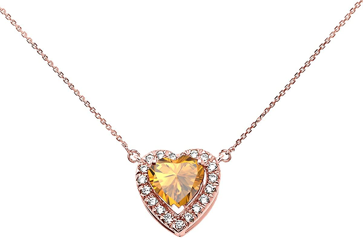 Details about  /10k or 14k Two-Tone Gold Simulated Citrine November Birthstone Charm Pendant