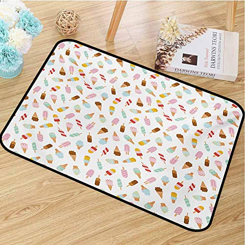 hengshu Ice Cream Inlet Outdoor Door mat Cartoon Doodle Style Creamy Delicious Diary Desserts with Various Sweet Flavors Catch dust Snow and mud W29.5 x L39.4 Inch Multicolor