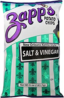 Zapp's New Orleans Kettle-Style Potato Chips, Salt and Vinegar – Crunchy Chips with a Bold Flavor, Great for Lunches or Snacking on the Go, 5 oz. Bag (Pack of 12)