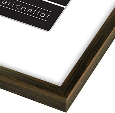 Americanflat 11x14 Thin Picture Frame in Mahogany - Displays 8x10 With Mat and 11x14 Without Mat - Horizontal and Vertical Formats for Wall