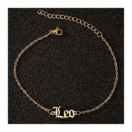 Regalo Viejo Inglés Letra Zodiaco Encanto Anklet Vintage 12 Constelación Tobillo Pulsera Joyería Mujer Universal (Main Stone Color : Gold, Metal Color : Leo)