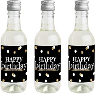 Adult Happy Birthday - Gold - Mini Wine and Champagne Bottle Label Stickers - Birthday Party Favor Gift for Women and Men - Set of 16