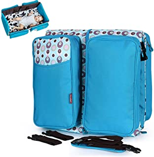 Two-in-One Multi-Function Mummy Bag Diaper Bag Portable Handbag Folding Travel Crib for Baby,Blue