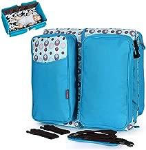 Two-in-One Multi-Function Mummy Bag Diaper Bag Portable Handbag Folding Travel Crib for Baby,Blue