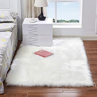 Decdeal Long Plush Ultra Soft Fluffy Rugs Rectangle Shape Faux Sheepskin Wool Carpet Rug for Living Room Bedroom Balcony F...
