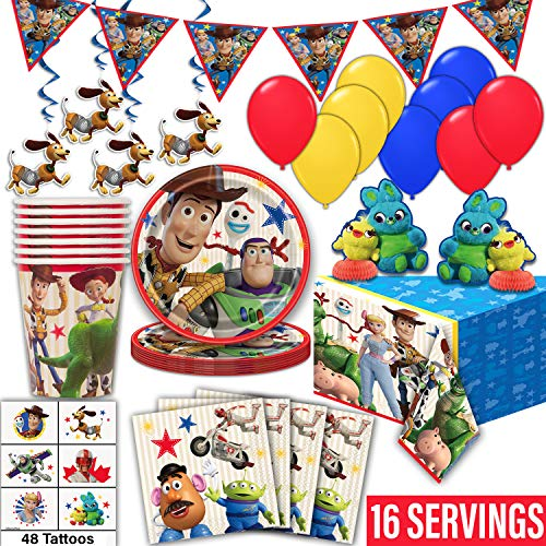 Toy Story 4 Party Supplies for 16- Plates, Cups, Napkin, Tablecloth, Banner, Hanging Swirls, Centerpieces, Tattoos, Balloons - Disposable Birthday Tableware, Decorations, Favors -Official Disney/Pixar