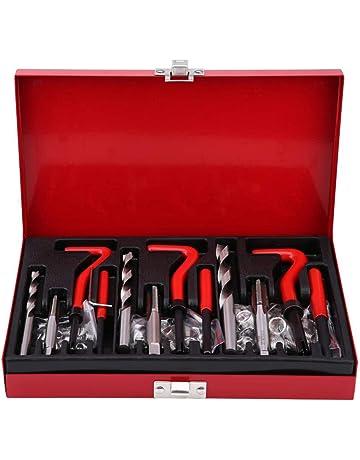 Kit de funda de reparaci/ón de roscas-17 piezas Kit de reparaci/ón de roscas M10x1.25 Juego de machos de roscar de acero inoxidable para rosca hembra
