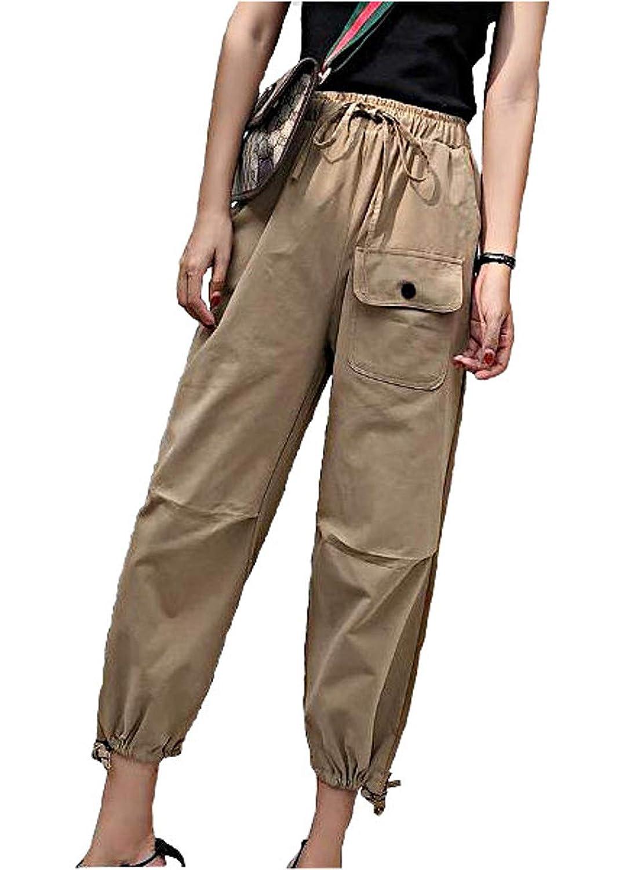 [スプリングスワロー] レディース カーゴパンツ ポケット付き ズボン 9分丈 トラックパンツ スリム ウエストゴム 作業ズボン