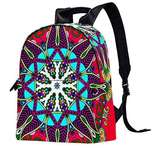 TIZORAX Circle Lace Ornament Floral Leather Backpacks Casual Daypacks Travel Bags School Bag for Men Women Girls Boys