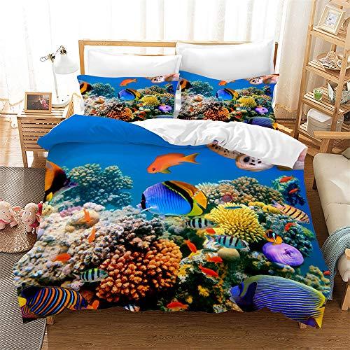 Completo Copripiumino Morbido Copripiumino Morbido Multi Colore per Tutte Le Stagioni Corallo Pesce Pesce Pagliaccio con Federa (200x200cm,Motivo 04)