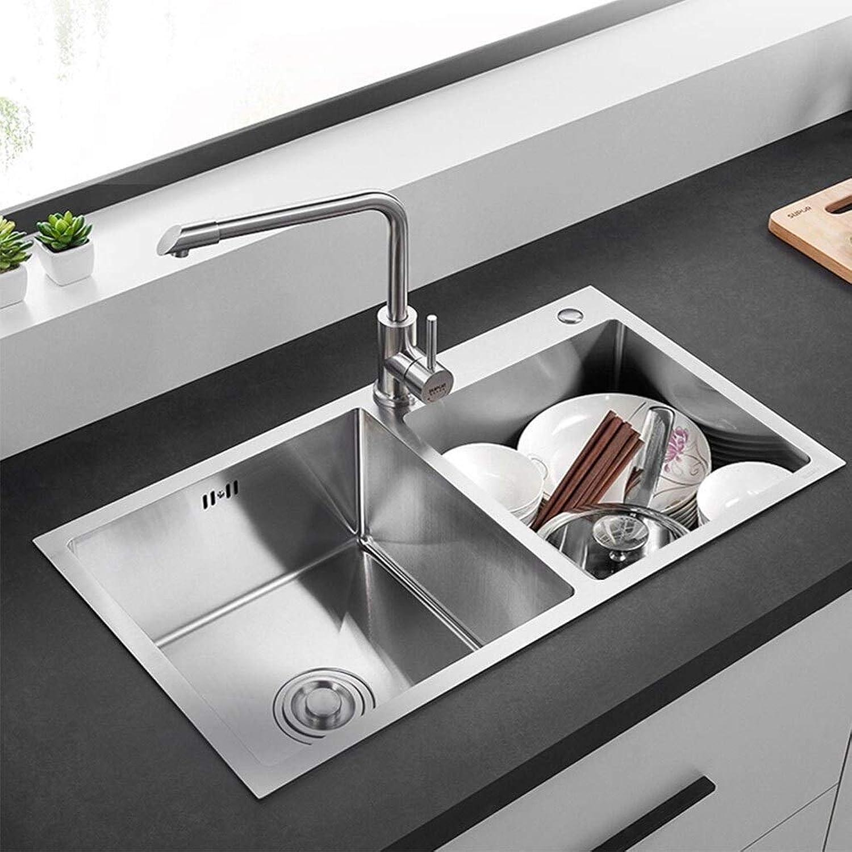304 Edelstahl Küche verdickt Waschbecken Doppelwaschbecken Multifunktions Doppelwanne 780mm  430mm  220mm Küchenspülen 0627