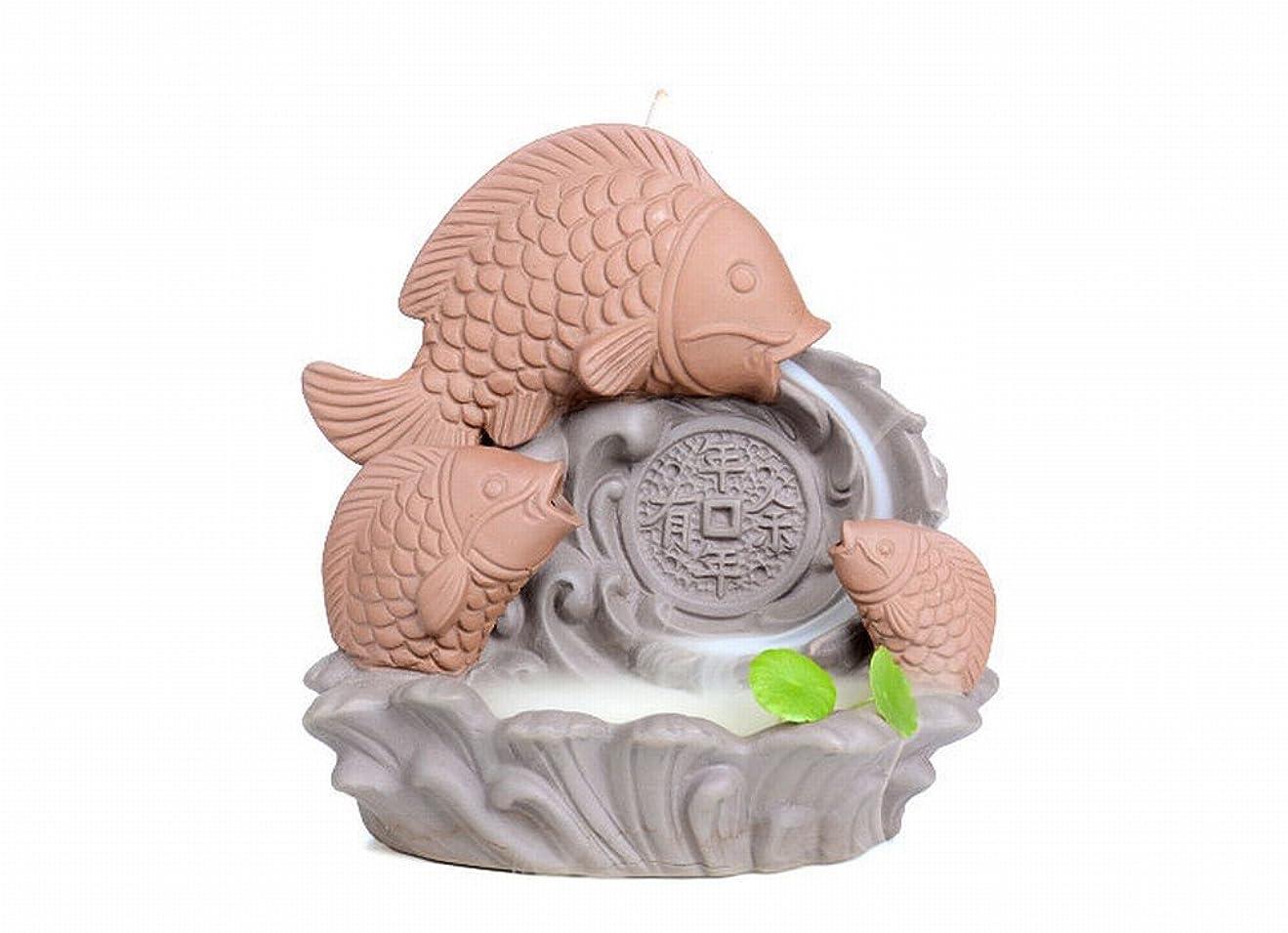 著作権解明する任命ZenアンティークセラミックCenserパープルClay Carp Backflow Incense Burner for Home Decor Tea Ceremony